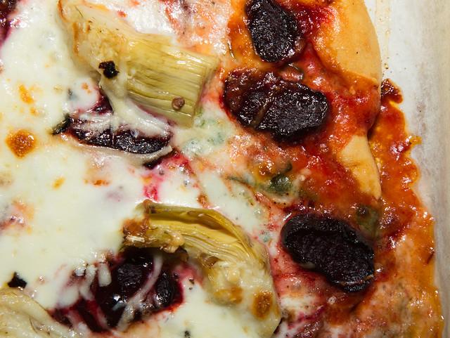Artichoke & beet pizza