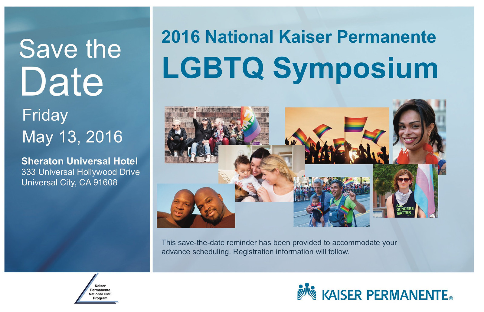 National Kaiser Permanente LGBTQ Symposium Save the Date 160210