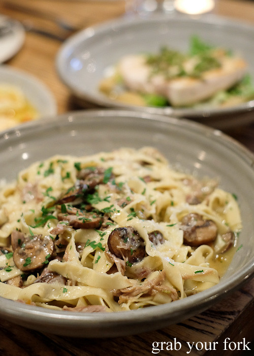 Tagliatelle with duck ragu and Swiss brown mushrooms at Casoni, Darlinghurst