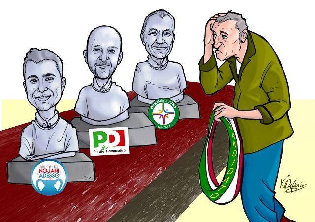 Noicattaro. Candidati primarie centrosinsitra vignetta intero