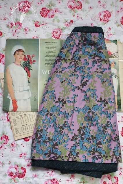marchewkowa, blog, szycie, krawiectwo, pracownia marchewkowej, tu się szyje, wrocław, retro, vintage, style, fashion, moda, spódnica, skirt, Burda 7/1961