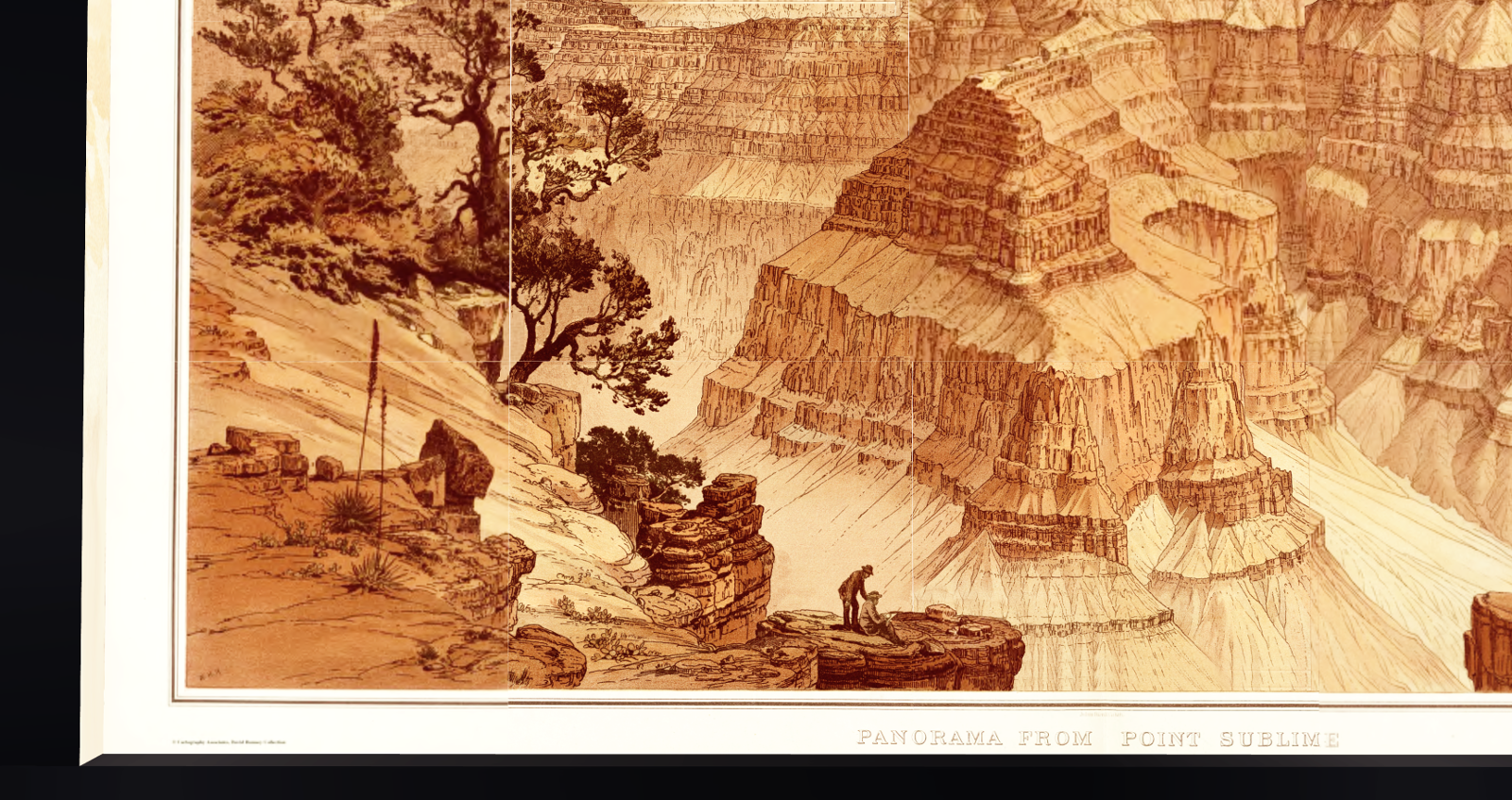 Portrait of the artist: William Henry Holmes seems to have depicted himself on the Grand Canyon perspective drawing