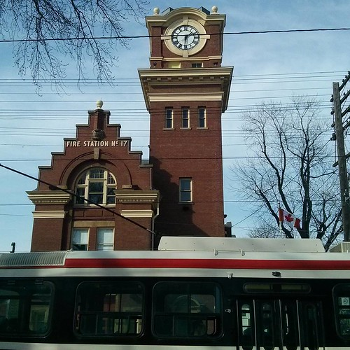 Fire Station No. 17 and streetcar #toronto #thebeach #queenstreeteast #architecture