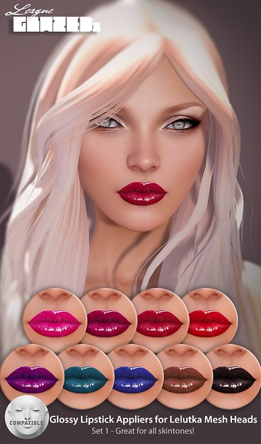 League Glazed Lipsticks for Lelutka Set 1