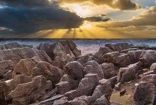 Sunset over Pancake Rocks