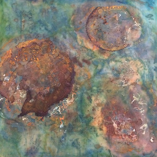 A little actual rust added, much needed definition I think! #artbizcontent #livingwater #encaustic #artforsale