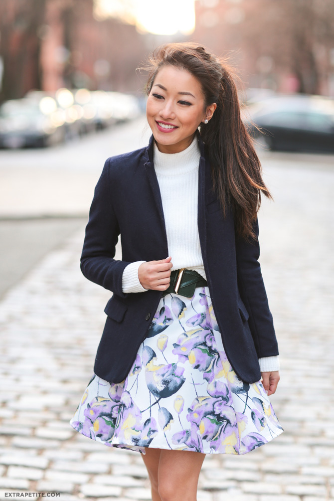 spring fashion floral skirt navy blazer outfit