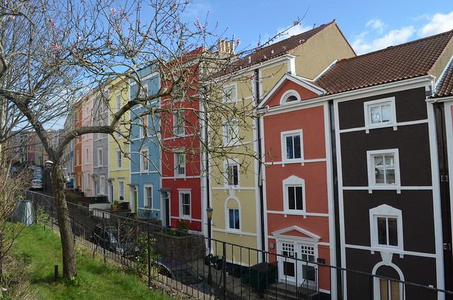 Quartier aux maisons colorés de Clifton à Bristol.