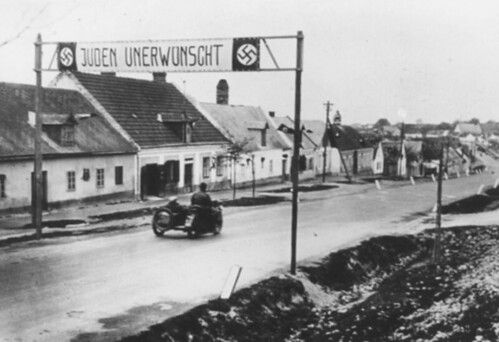 An anti-Jewish banner in a German street