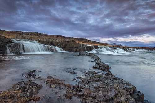 cloud west grass sunrise dawn is waterfall iceland rocks long exposure moody purple you le hank foreground