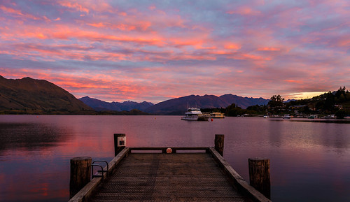 morning travel autumn newzealand sky cloud mountain lake mountains reflection fall water clouds canon landscape boats dawn pier boat cloudy outdoor jetty southisland otago dslr wanaka 1740 lakewanaka 6d 1740l canon6d