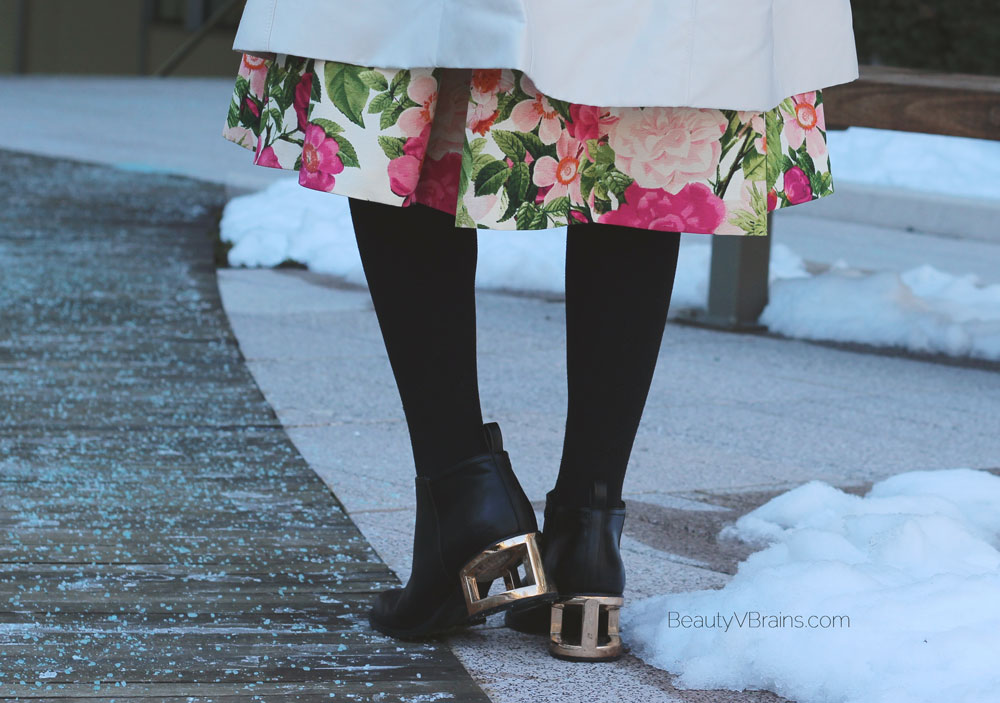 Gold geometric block heeled boots and floral midi skirt