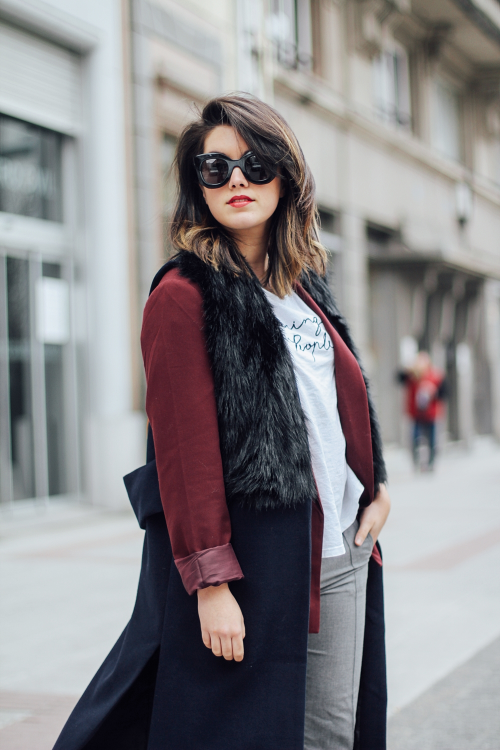 isabel marant sneakers bart etoile with faux fur vest and red blazer streetstyle myblueberrynightsblog