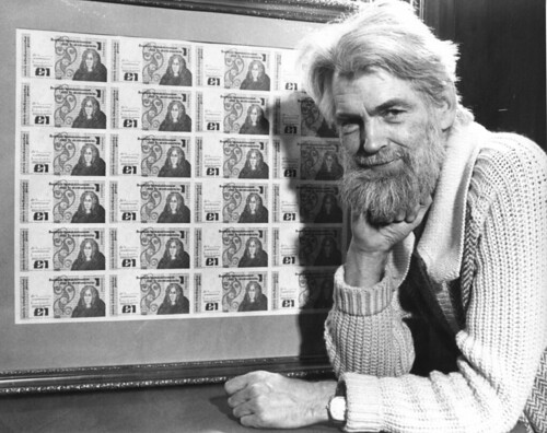 Photograph of Michael Biggs, 1977, after he designed the letterforms on Irish bank notes. (used with permission from the Irish Times, photo by Paddy Whelan)