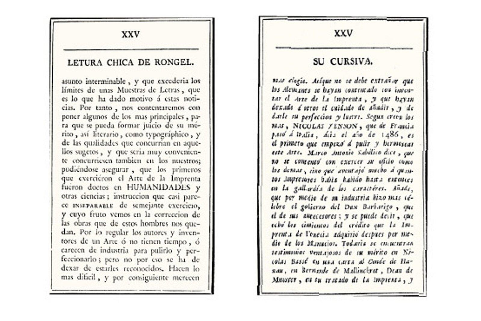 Two Examples Of Rongels Types From Muestras De Los Punzones Y Matrices Letra Que Se Funde En El Obrador La Imprint Real