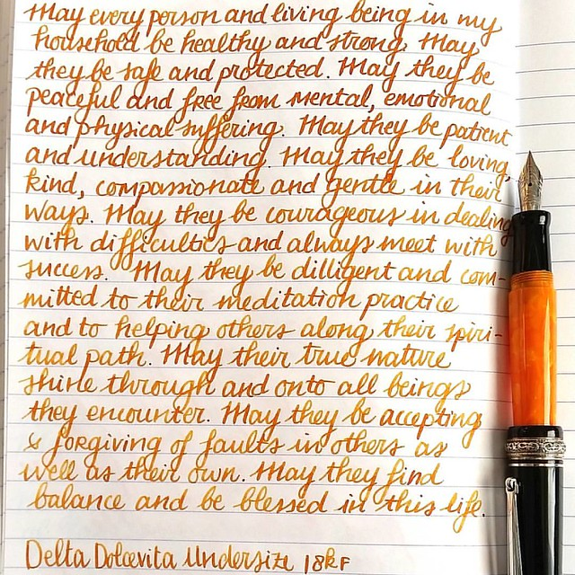 "Goodmoring! Another day, another #lovingkindness #writtenmeditation page in my #mindfulness #journal. Tools of choice: FP: Delta Dolcevita Undersize Ink: custom ""autumn oak light"" mix Paper: clairefontaine - #journaling #mindfulwriting #mettameditation #f"