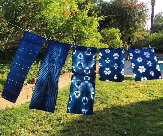Boom there they are! #indigodyed linen for four #LeatherHandledLinenTotes, almost instant gratification! (Still have to be washed though...) #itajime #shibori #fbp