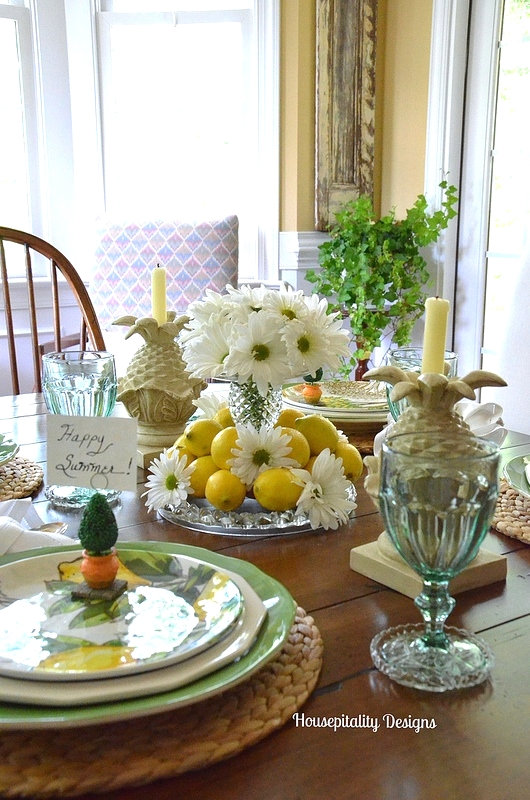 Summer tablescape of Lemons and Daisies - Housepitality Designs