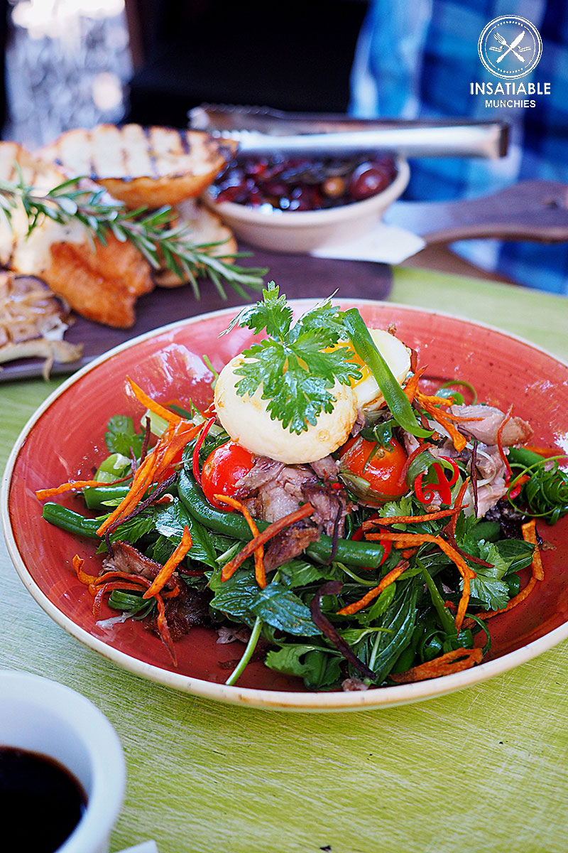 Warm Duck Salad with cherry tomatoes, coriander, mint, sweet potato chips, green bean, julienned chilli and a fried egg, $25: The Vic on the Park, Marrickville. Sydney Food Blog Review
