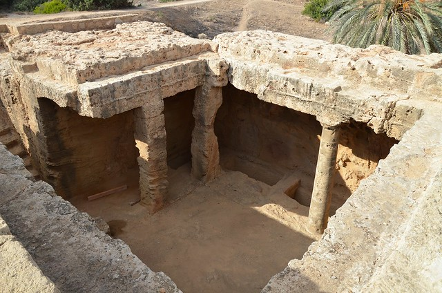 Tomb No 4 with atrium surrounded by Doric columns and accessed by a dromos consisting of 13 steps, , Tombs of the Kings, Kato Pafos, Paphos, Cyprus