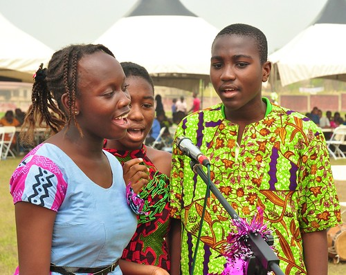 Students from the Junior High School giving a performance during the St Louis Jubilee School annual Family Day