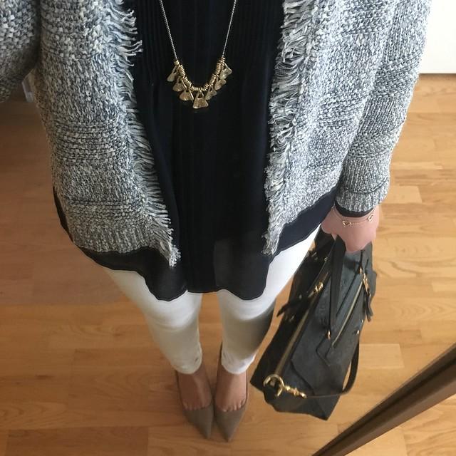 LOFT Fringe Trim Cardigan Outfit Idea