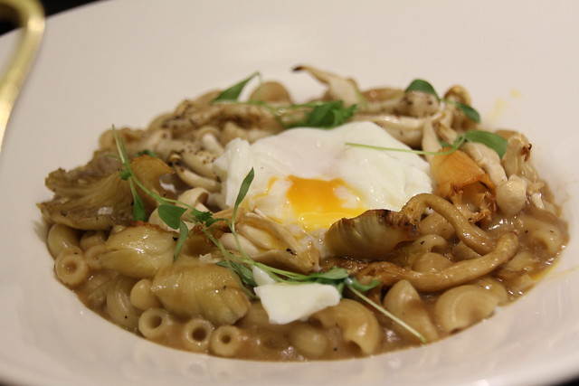 MACARONI DI FUNGHI with wild mushrooms, Starter £5.95 / Main £9.95 topped with a poached egg