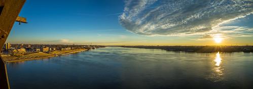 sky water clouds sunrise river us unitedstates kentucky indiana louisville ohioriver jeffersonville bigfourbridge