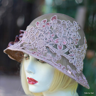 Mauve Lace Summer Wide Brim Hat