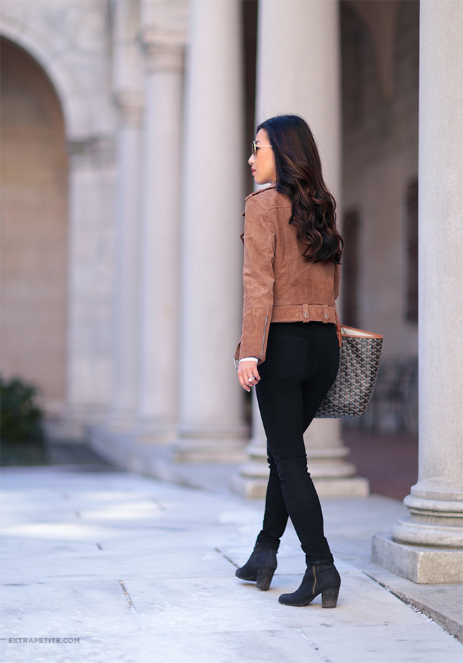 blank nyc brown suede moto jacket black jeans outfit