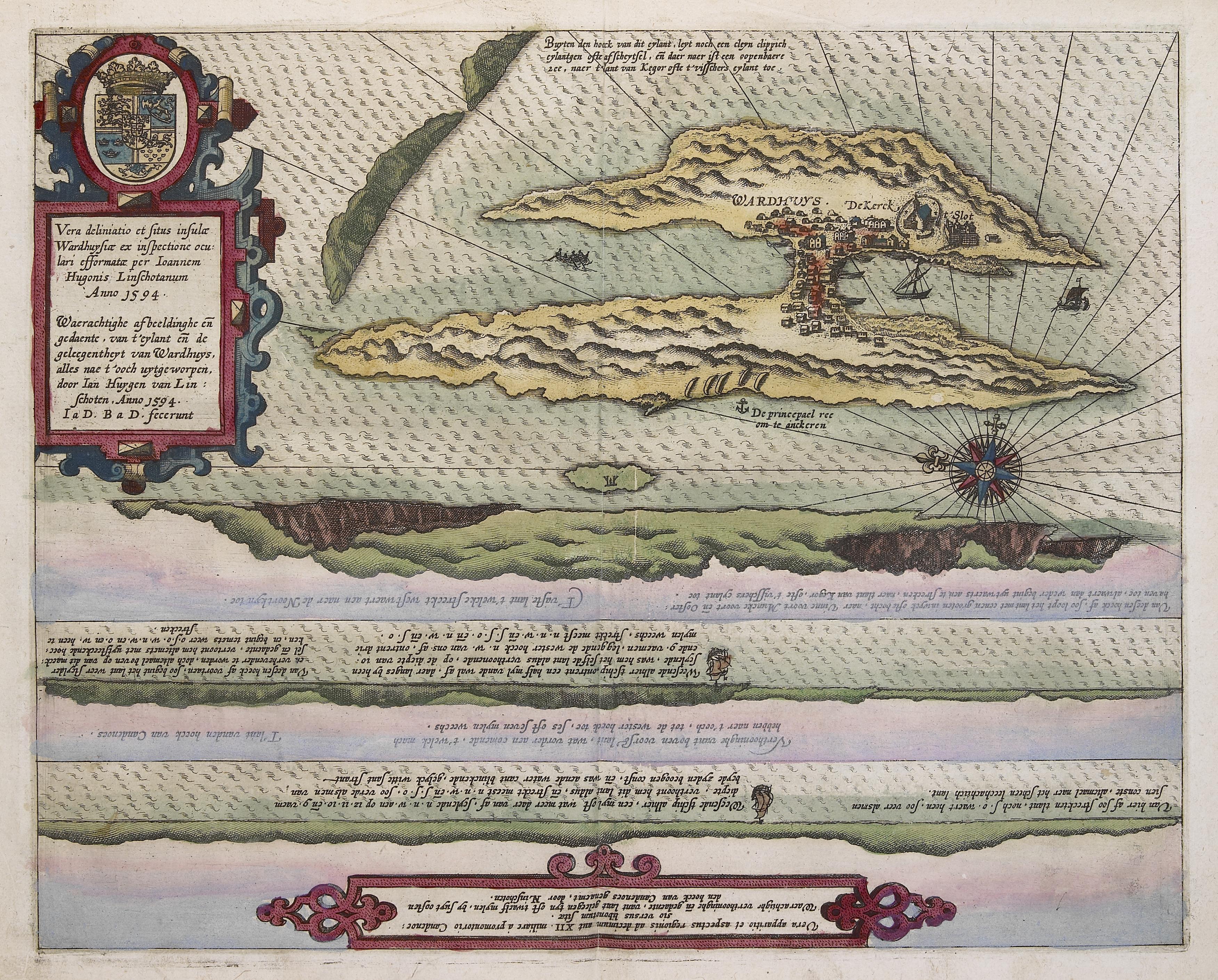 Linschotens kart over Vardø