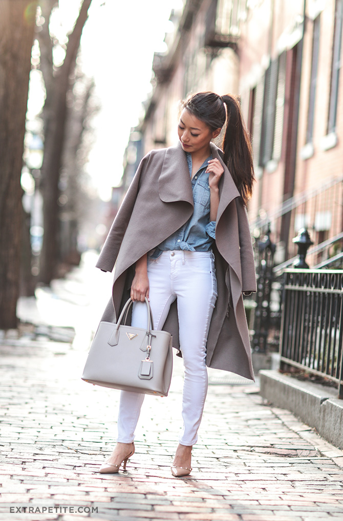 gray wrap jacket denim shirt boston outfit
