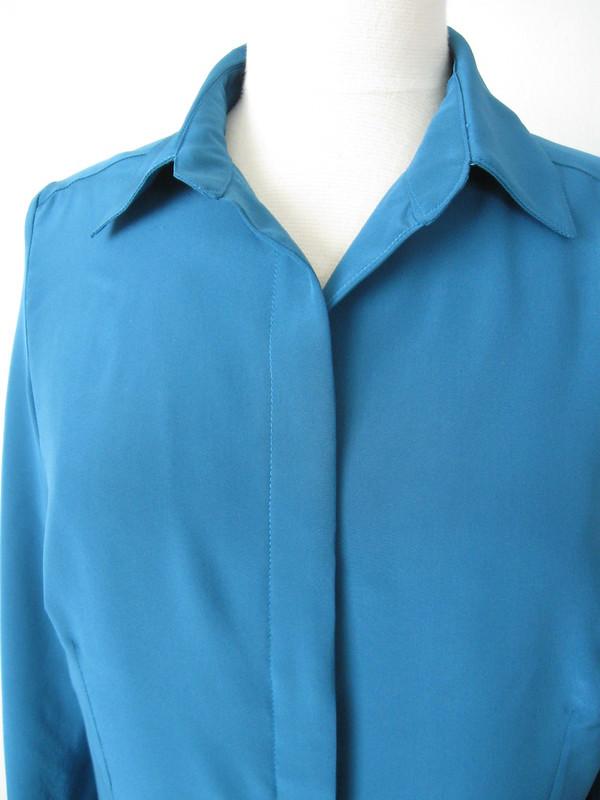 silk blouse hidden buttonholes teal