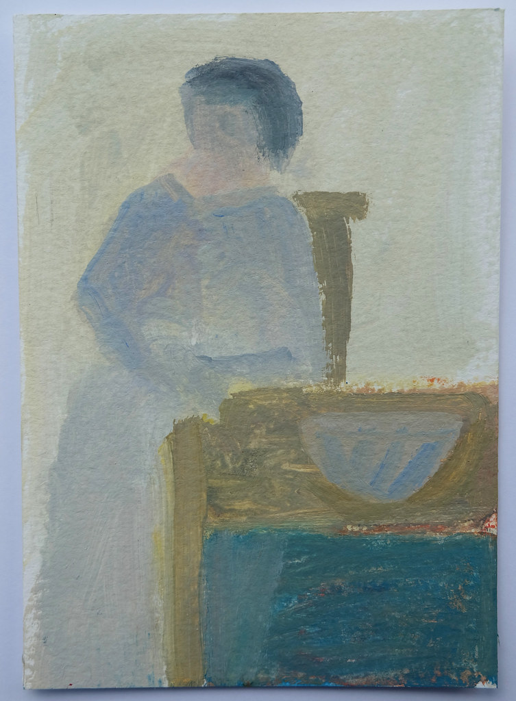 woman by a table