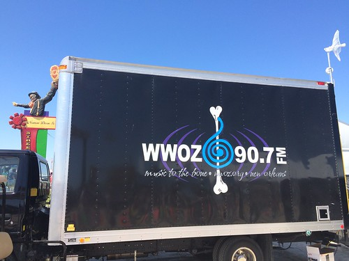 WWOZ production truck at Jazz Fest 2016 w/Norman Dixon, Sr. in the background on Day 2 of Jazz Fest 2016