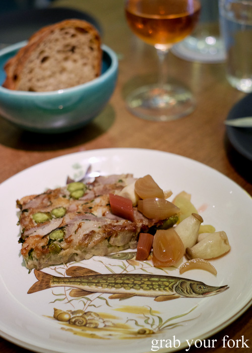 Brawn terrine with pickles and bread at Bar Brose, Darlinghurst