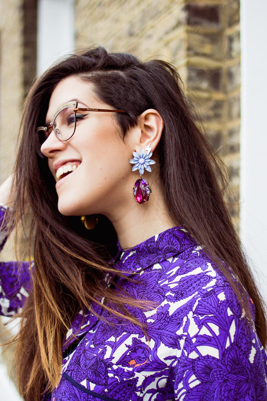 Boden ICONS purple print Vivienne shirt