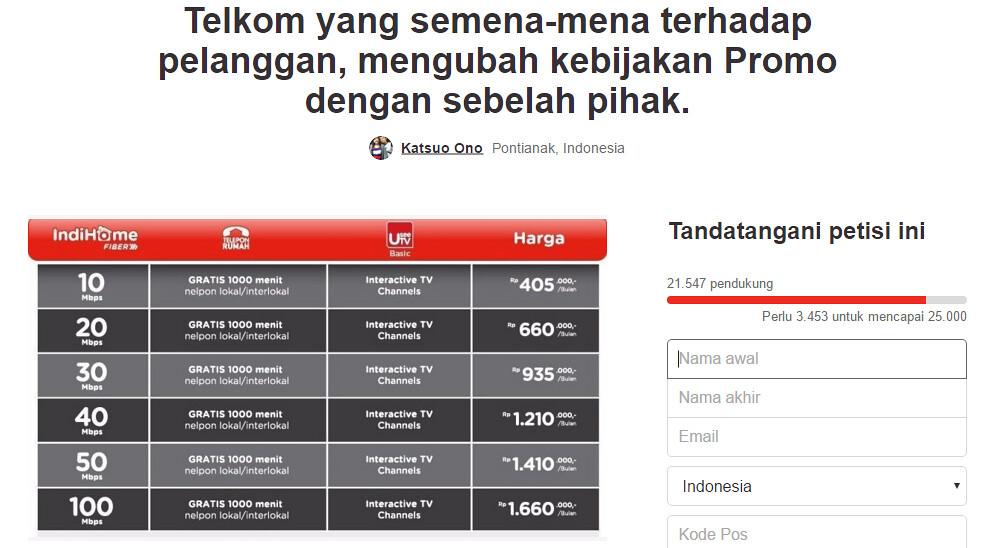 Layanan Tidak Jelas, Petisi Kekecewaan ke Indihome Didukung 21.462 Tanda Tangan