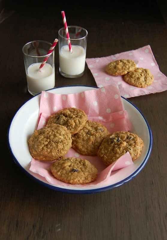 Cranberry and peanut oatmeal cookies / Cookies de aveia com cranberries e amendoim