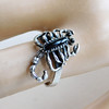 Vintage Cast Sterling Silver and Onyx Scorpion Ring - Native American