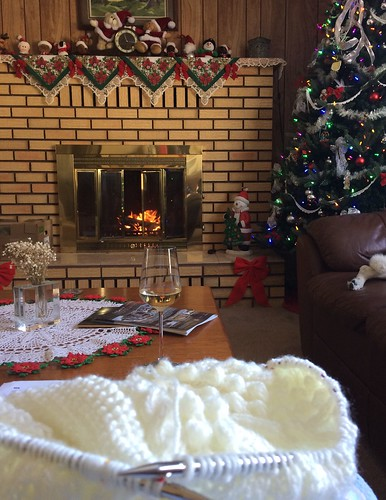 Knitting, wine, a crackling fire, and soft music.