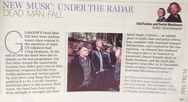 Olaf Furniss and Derick Mackinnon, Scotland On Sunday, Spectrum Magazine, Dead Man Fall