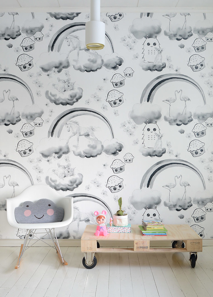 Unicorns, kittens and cupcakes - wallpaper design by Jutta Rikola