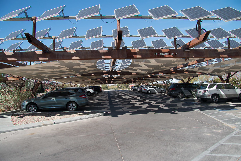 Solar panels at Springs Preserve's Parking Lot