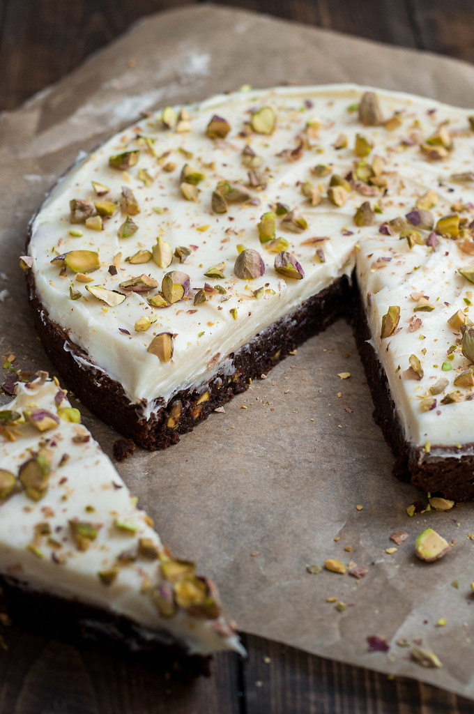 Extra decadent pistachio brown butter brownies and brown butter cream cheese frosting