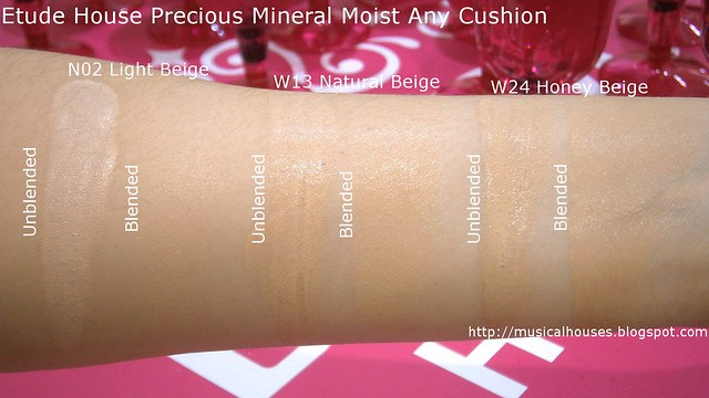 Etude House Precious Mineral Moist Any Cushion Swatches