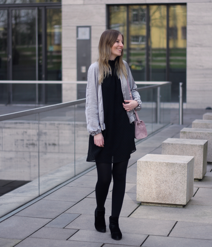 outfit satin bomber jacket frankfurt dress zara asos pink bag