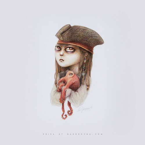 6/100 - Miss Captain Jack Sparrow and a baby kraken fanart