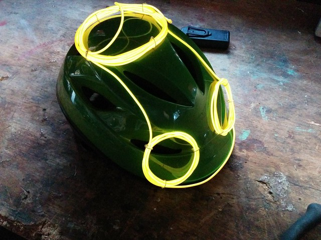 Bike Helmets Decorated with Electroluminescent Wire