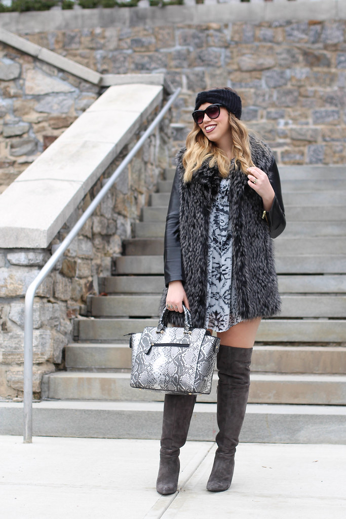 All Gray Winter Outfit | Gray Suede OTK Boots | Snake Skin Bag | Fur Vest | Printed Tunic | Glam Style